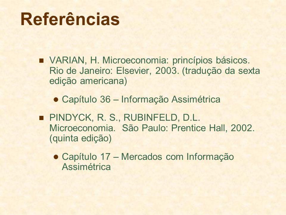 Referências VARIAN, H. Microeconomia: princípios básicos. Rio de Janeiro: Elsevier, 2003. (tradução da sexta edição americana)
