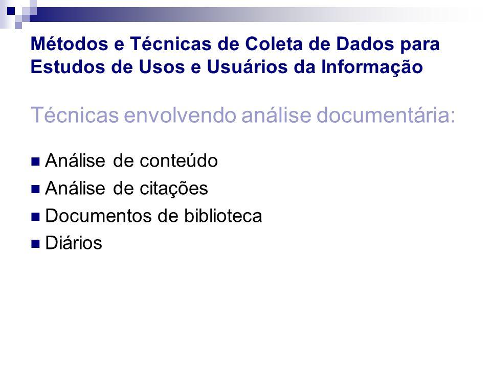 Técnicas envolvendo análise documentária: