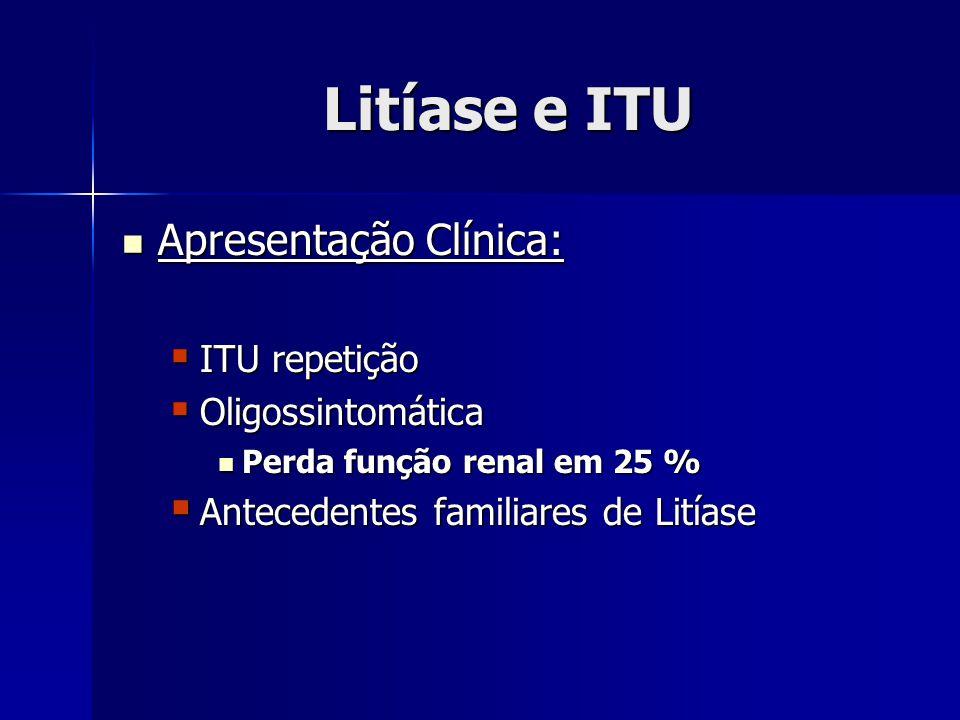 Litíase e ITU Apresentação Clínica: ITU repetição Oligossintomática