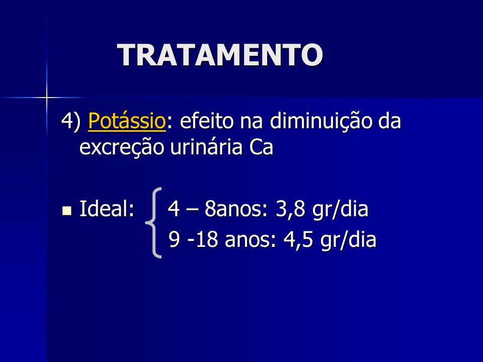 TRATAMENTO 4) Potássio: efeito na diminuição da excreção urinária Ca