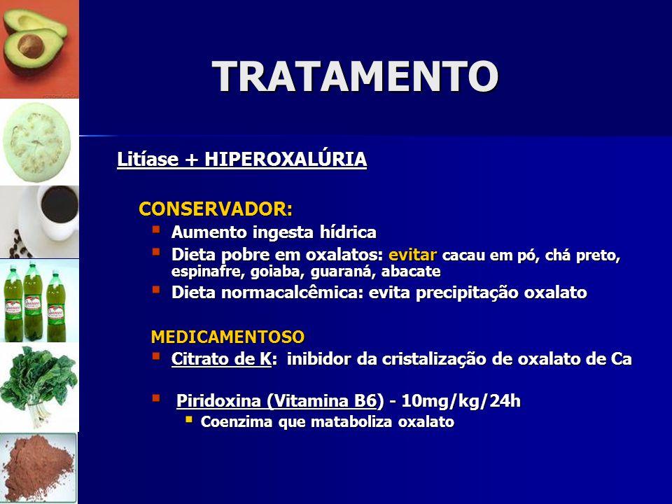 TRATAMENTO Litíase + HIPEROXALÚRIA CONSERVADOR: