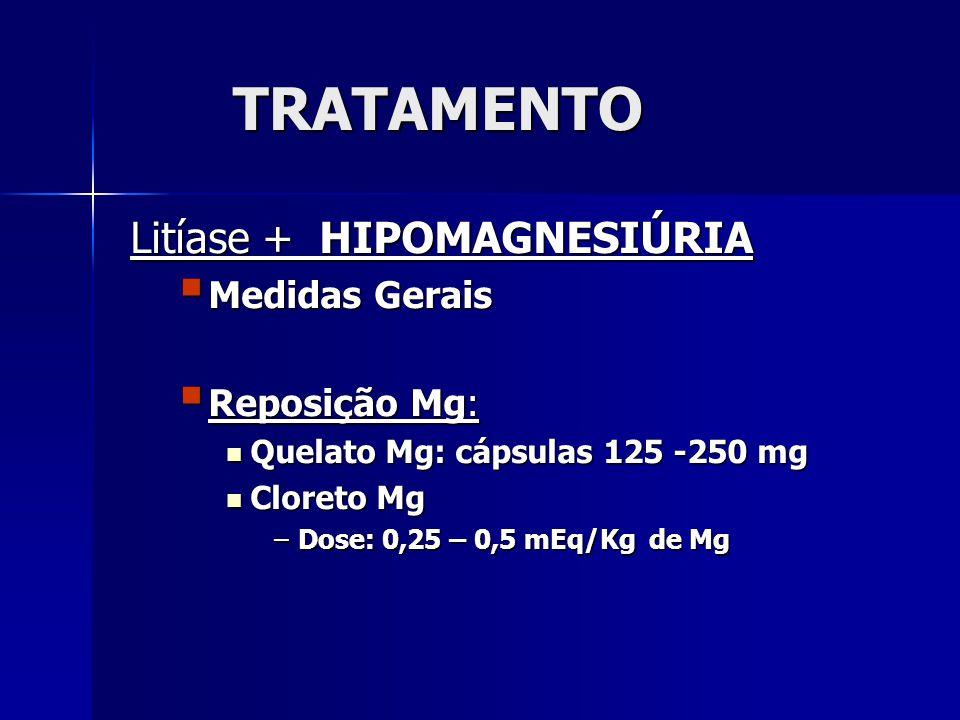 TRATAMENTO Litíase + HIPOMAGNESIÚRIA Medidas Gerais Reposição Mg: