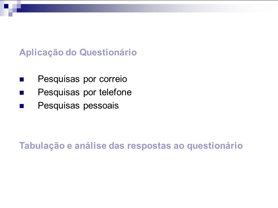 Aplicação do Questionário