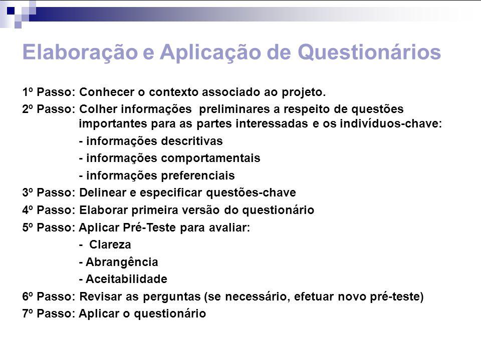 Elaboração e Aplicação de Questionários