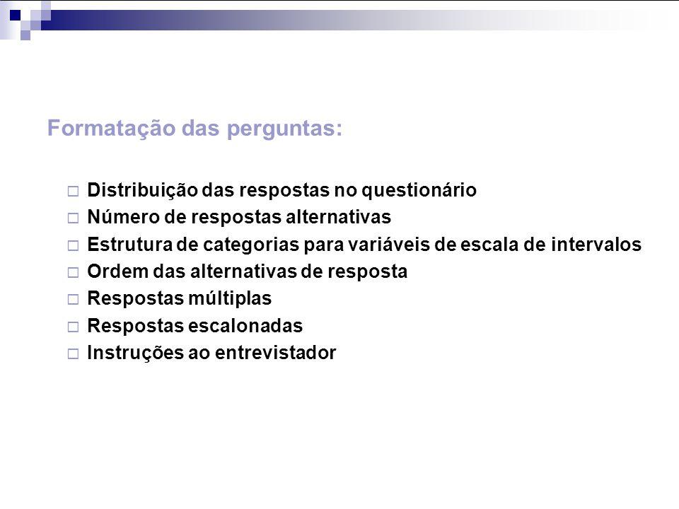 Formatação das perguntas: