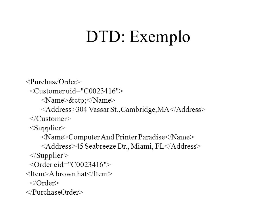 DTD: Exemplo <PurchaseOrder> <Customer uid= C0023416 >
