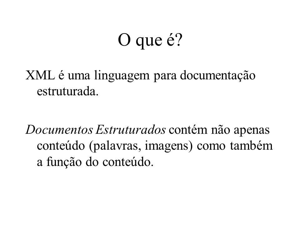 O que é XML é uma linguagem para documentação estruturada.