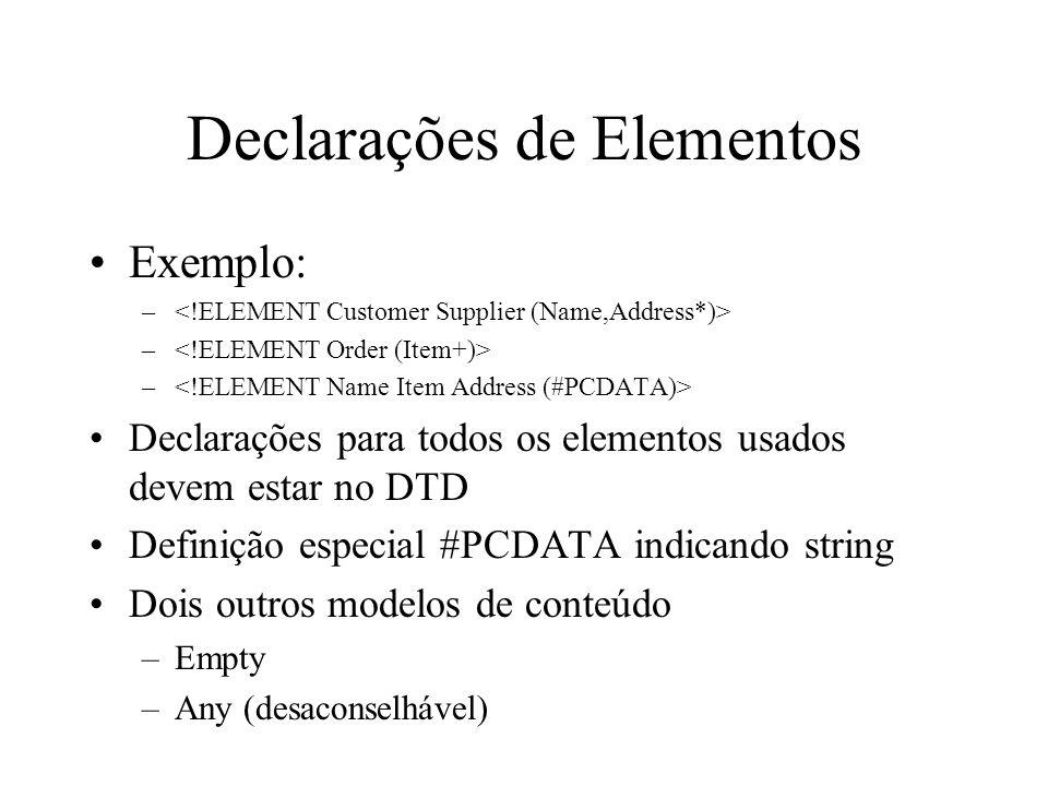 Declarações de Elementos
