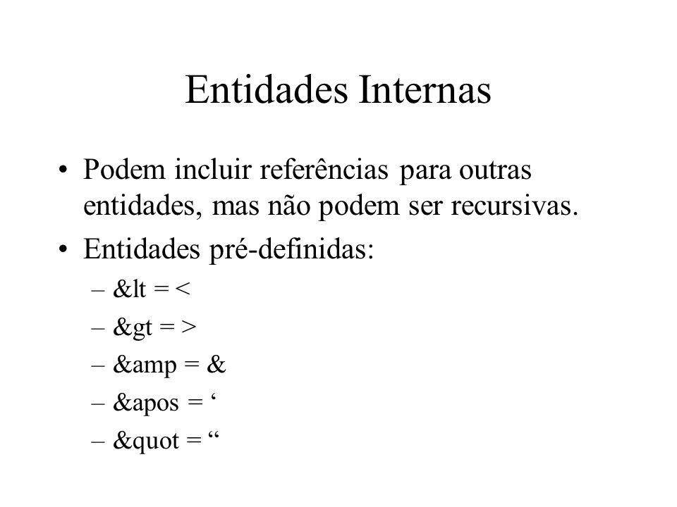 Entidades Internas Podem incluir referências para outras entidades, mas não podem ser recursivas. Entidades pré-definidas: