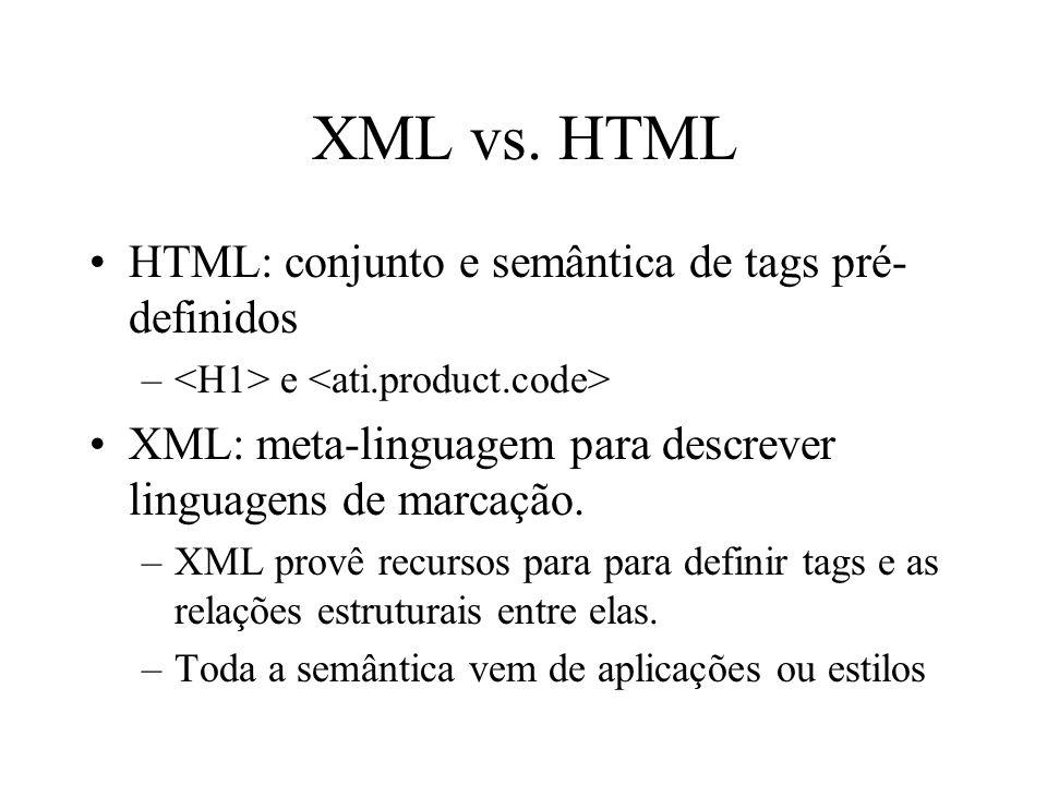 XML vs. HTML HTML: conjunto e semântica de tags pré-definidos