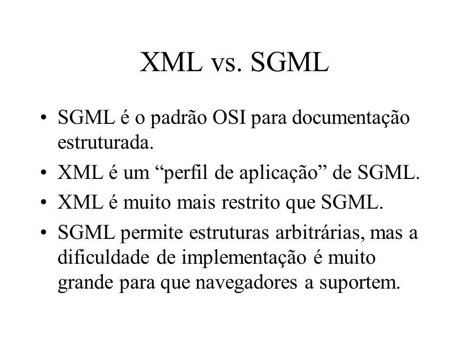 XML vs. SGML SGML é o padrão OSI para documentação estruturada.