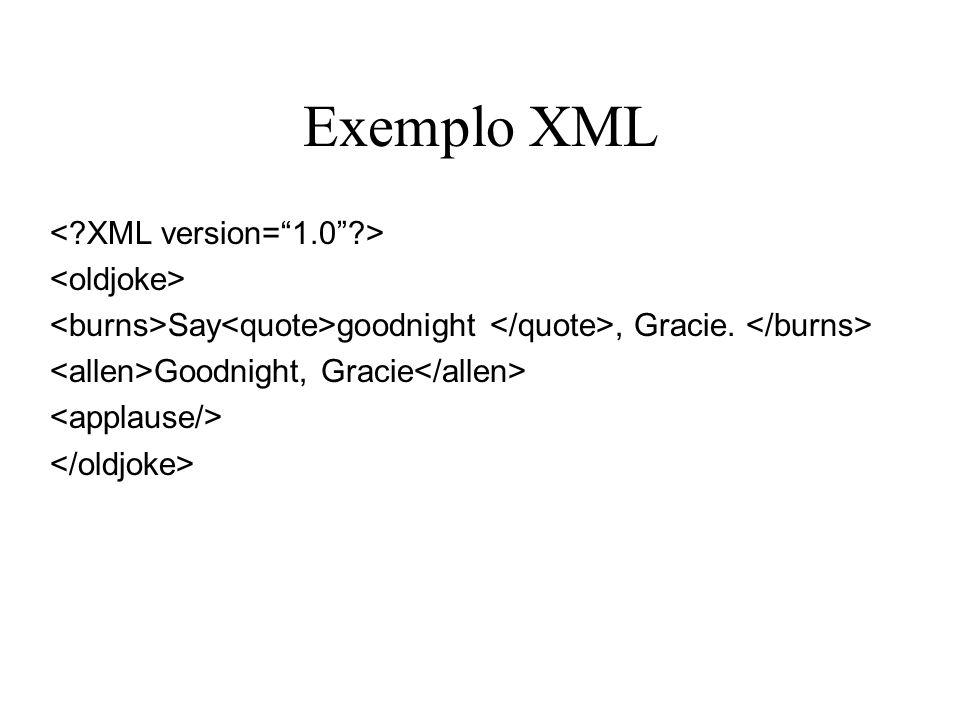 Exemplo XML < XML version= 1.0 > <oldjoke>