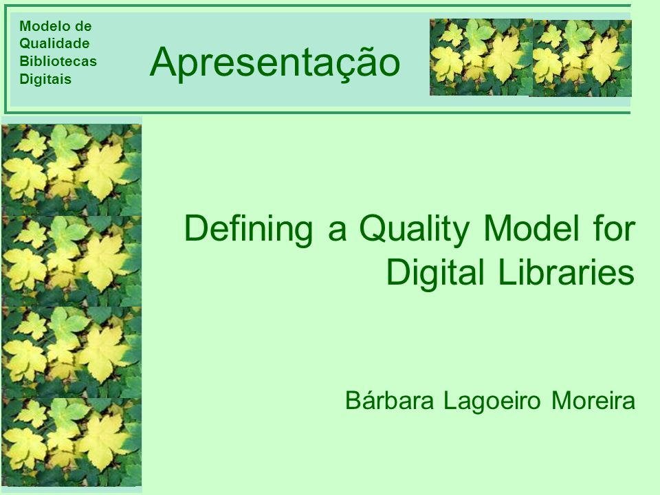 Apresentação Defining a Quality Model for Digital Libraries