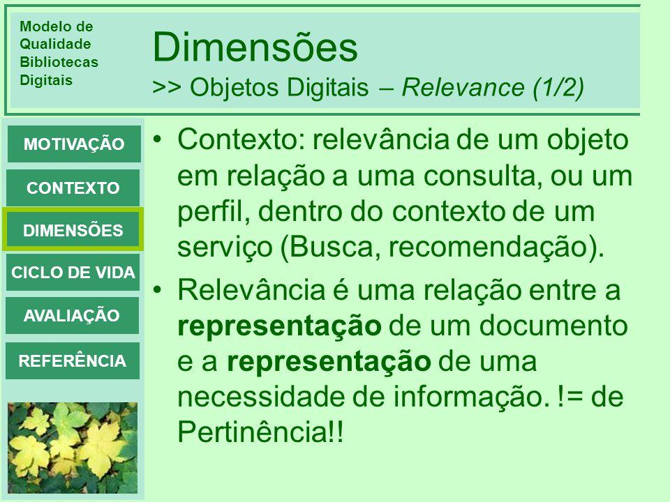 Dimensões >> Objetos Digitais – Relevance (1/2)