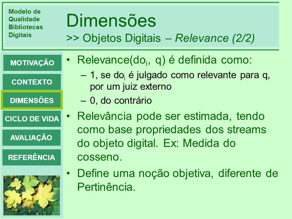 Dimensões >> Objetos Digitais – Relevance (2/2)