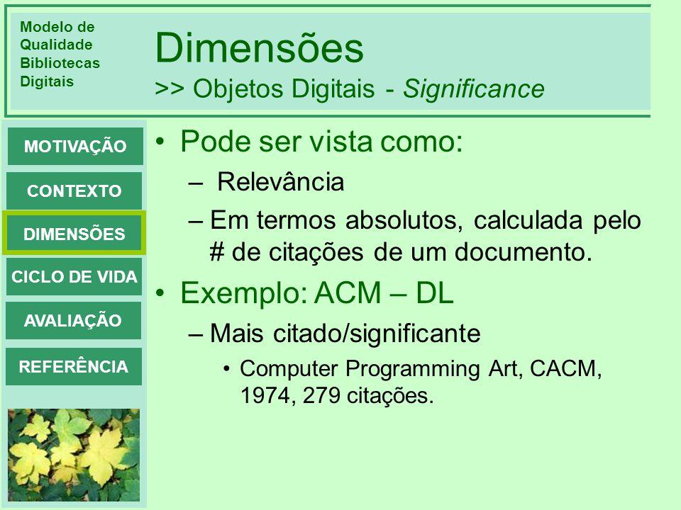 Dimensões >> Objetos Digitais - Significance