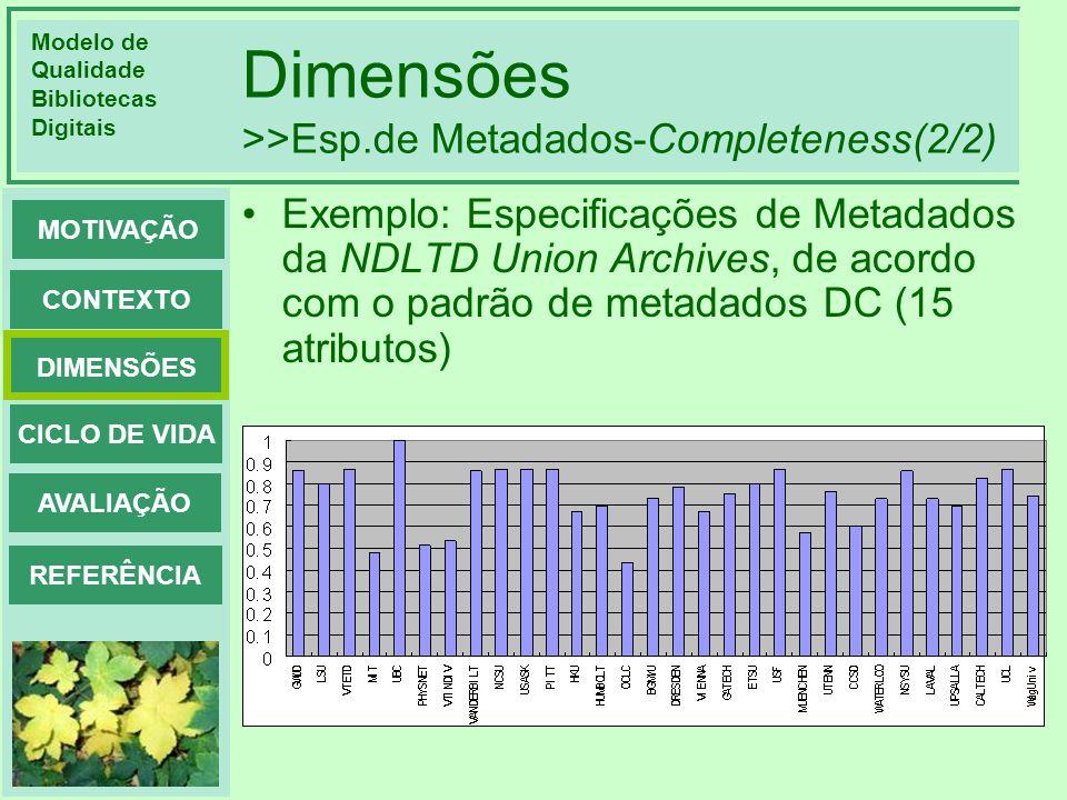 Dimensões >>Esp.de Metadados-Completeness(2/2)