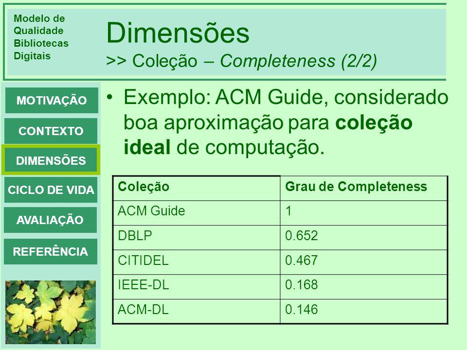 Dimensões >> Coleção – Completeness (2/2)