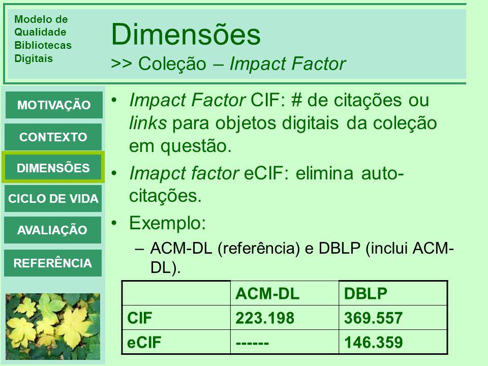 Dimensões >> Coleção – Impact Factor