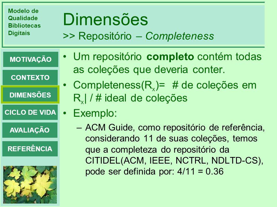 Dimensões >> Repositório – Completeness