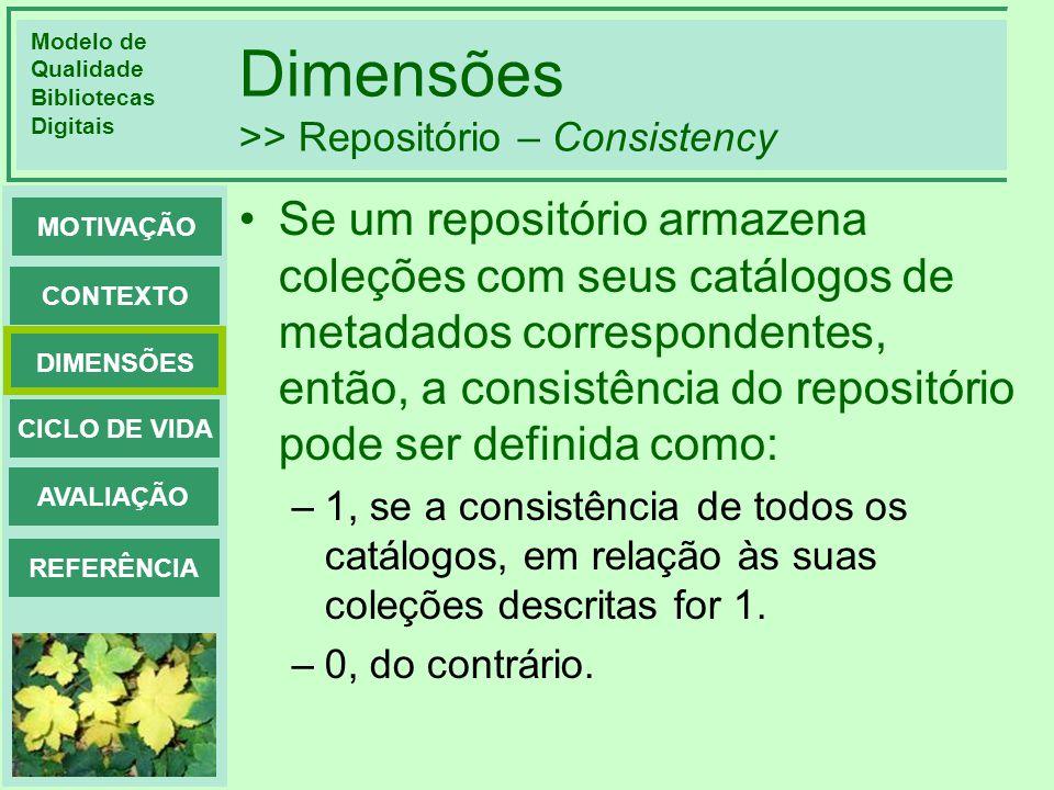 Dimensões >> Repositório – Consistency