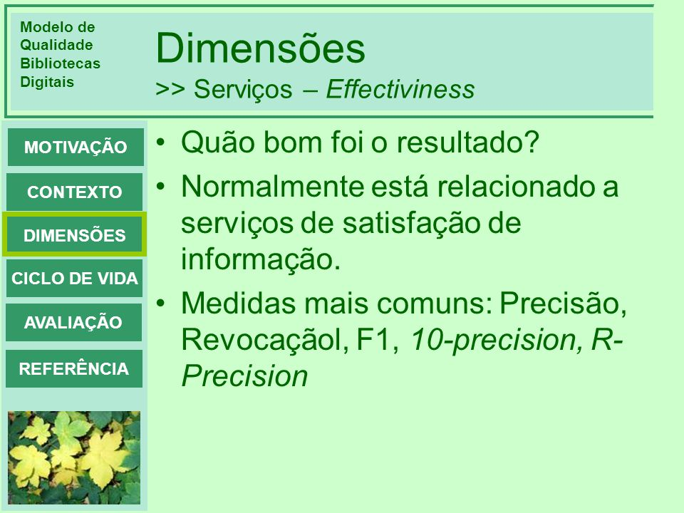 Dimensões >> Serviços – Effectiviness