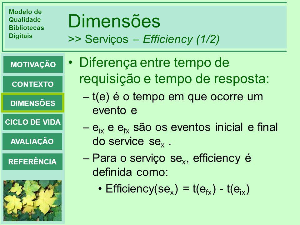 Dimensões >> Serviços – Efficiency (1/2)