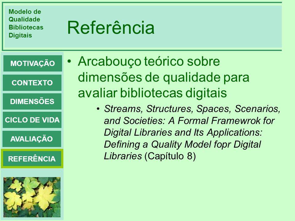 Referência Arcabouço teórico sobre dimensões de qualidade para avaliar bibliotecas digitais.