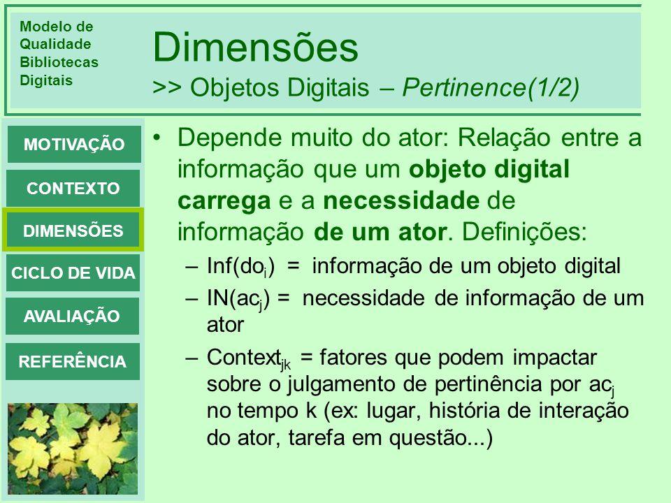 Dimensões >> Objetos Digitais – Pertinence(1/2)
