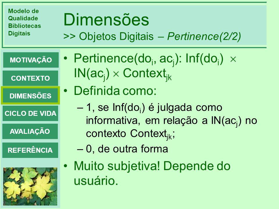 Dimensões >> Objetos Digitais – Pertinence(2/2)