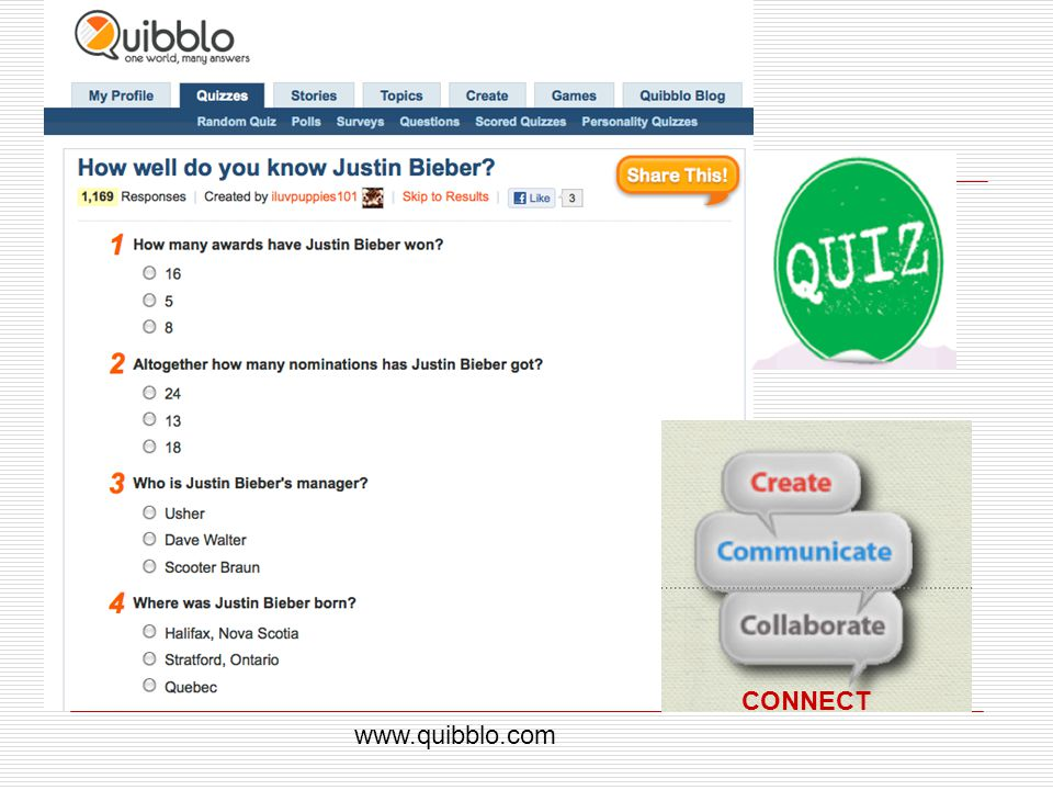 CONNECT www.quibblo.com