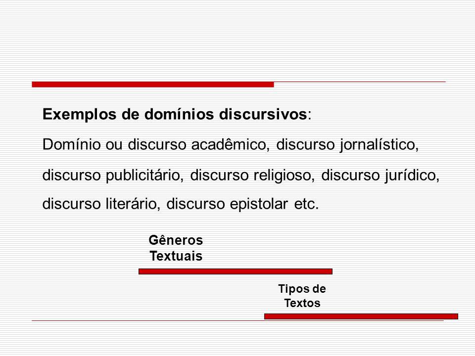Exemplos de domínios discursivos: