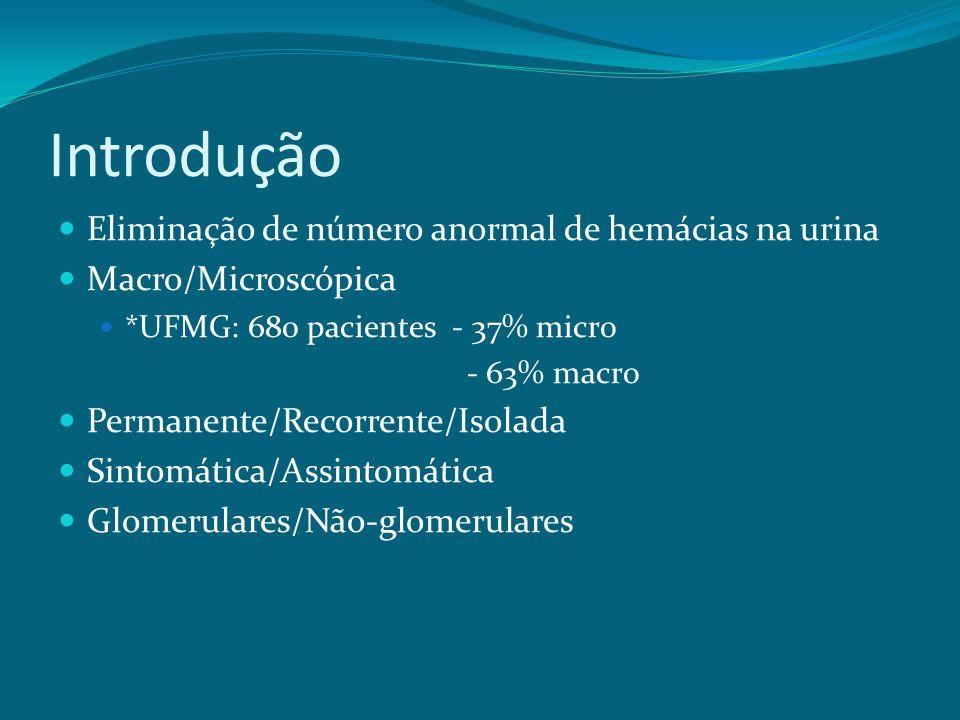 Introdução Eliminação de número anormal de hemácias na urina