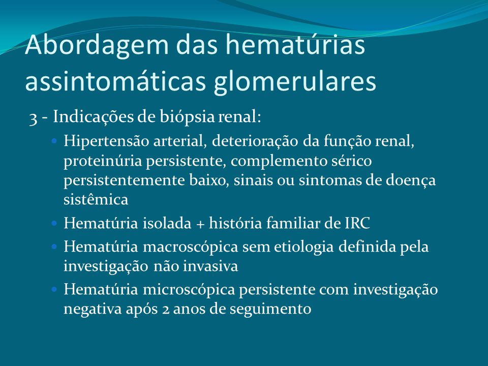 Abordagem das hematúrias assintomáticas glomerulares