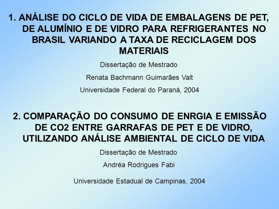 ANÁLISE DO CICLO DE VIDA DE EMBALAGENS DE PET, DE ALUMÍNIO E DE VIDRO PARA REFRIGERANTES NO BRASIL VARIANDO A TAXA DE RECICLAGEM DOS MATERIAIS
