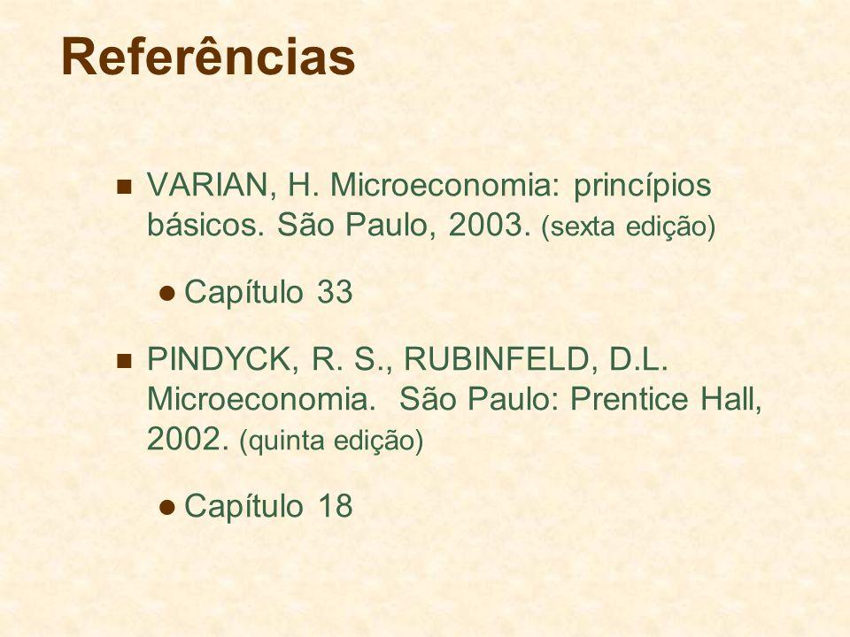 Referências VARIAN, H. Microeconomia: princípios básicos. São Paulo, 2003. (sexta edição) Capítulo 33.