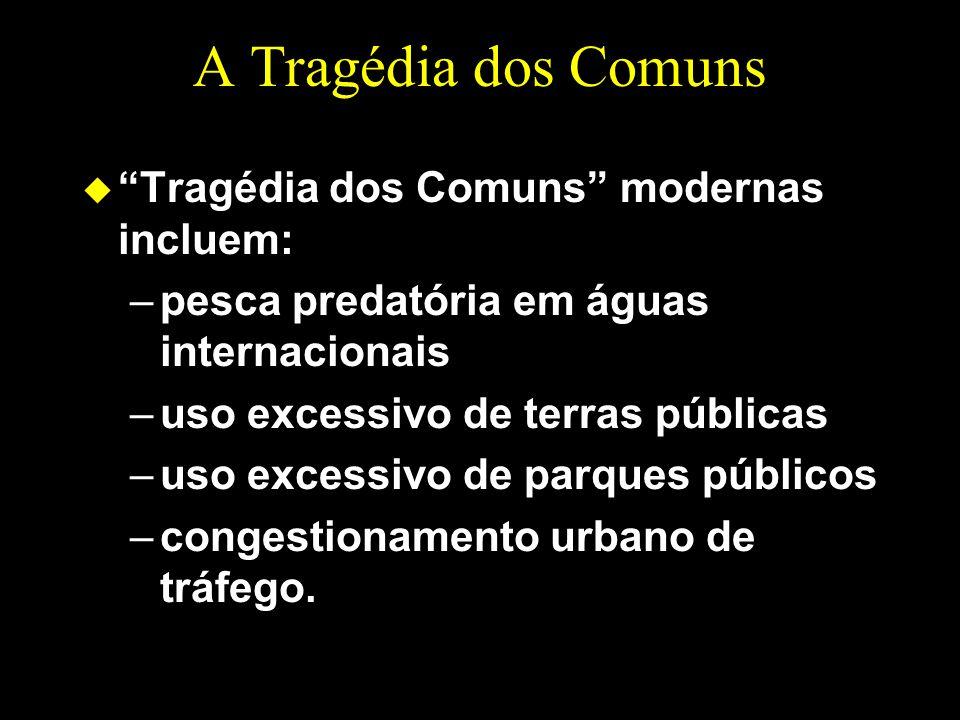 A Tragédia dos Comuns Tragédia dos Comuns modernas incluem: