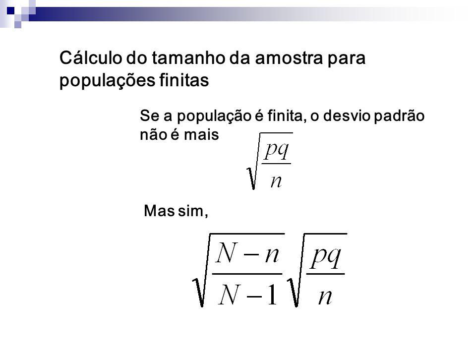 Cálculo do tamanho da amostra para populações finitas