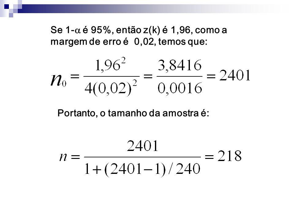 Se 1- é 95%, então z(k) é 1,96, como a margem de erro é 0,02, temos que:
