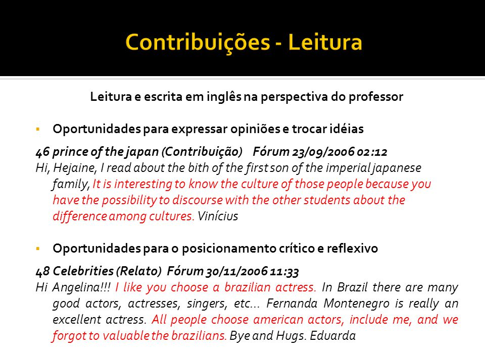Contribuições - Leitura