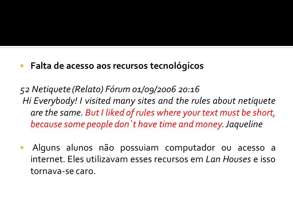 Falta de acesso aos recursos tecnológicos