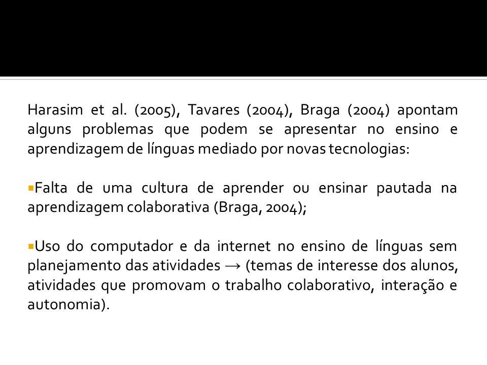 Harasim et al. (2005), Tavares (2004), Braga (2004) apontam alguns problemas que podem se apresentar no ensino e aprendizagem de línguas mediado por novas tecnologias: