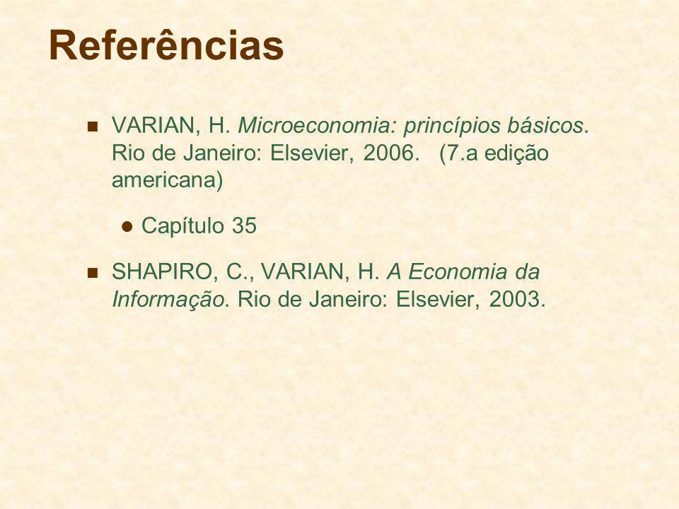 Referências VARIAN, H. Microeconomia: princípios básicos. Rio de Janeiro: Elsevier, 2006. (7.a edição americana)