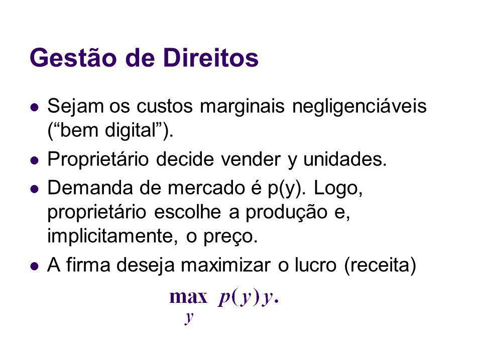 Gestão de Direitos Sejam os custos marginais negligenciáveis ( bem digital ). Proprietário decide vender y unidades.