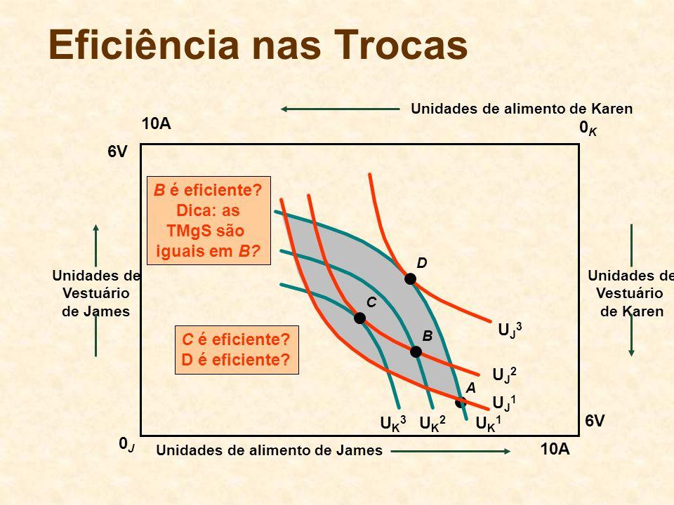 Eficiência nas Trocas 10A 0K 6V B é eficiente Dica: as TMgS são