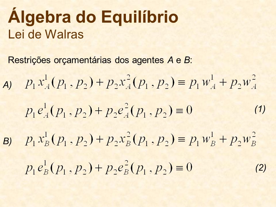 Álgebra do Equilíbrio Lei de Walras