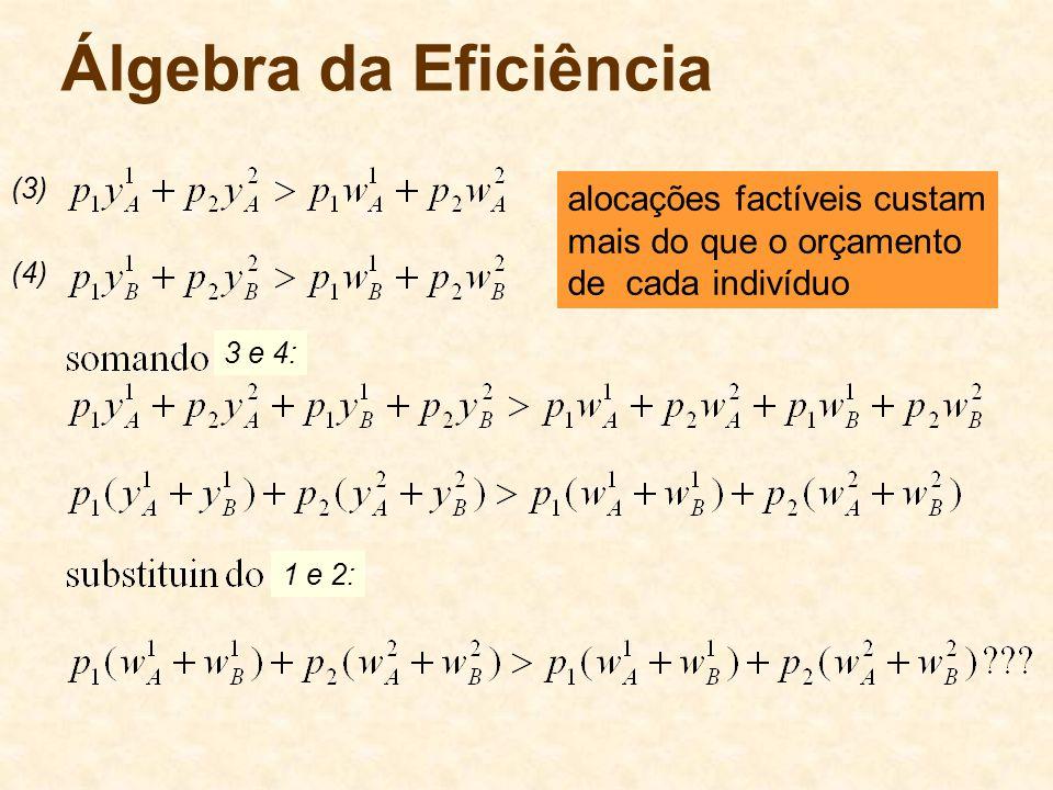 Álgebra da Eficiência alocações factíveis custam