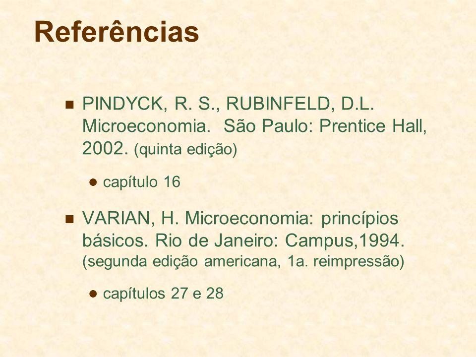 Referências PINDYCK, R. S., RUBINFELD, D.L. Microeconomia. São Paulo: Prentice Hall, 2002. (quinta edição)