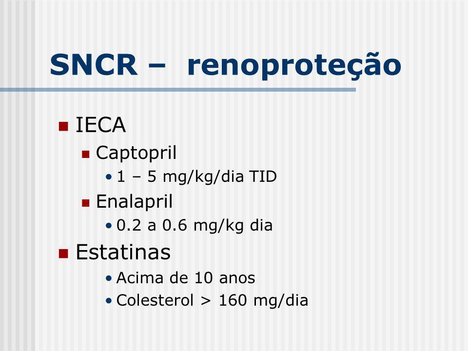 SNCR – renoproteção IECA Estatinas Captopril Enalapril