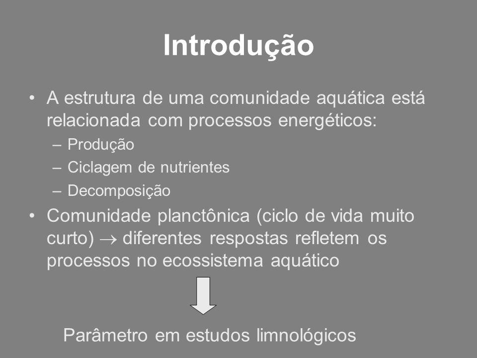 Introdução A estrutura de uma comunidade aquática está relacionada com processos energéticos: Produção.